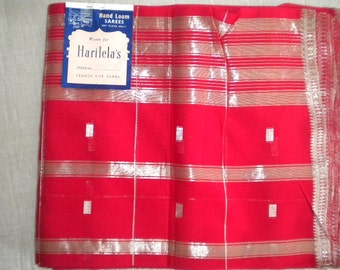 Red and Silver Vintage HARILELA'S Hand Loomed Saree - NOS