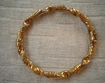 Italian Gold over Sterling Hammered Twisted Vintage Bracelet