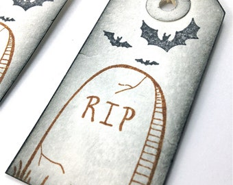 Halloween Tombstone Tags - Decoration - Distressed Gift Tags - Party Favors - Gift Bags - RIP