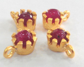 4 Pcs Ruby Jade Drop Charms , Gold Plated Brass   G803