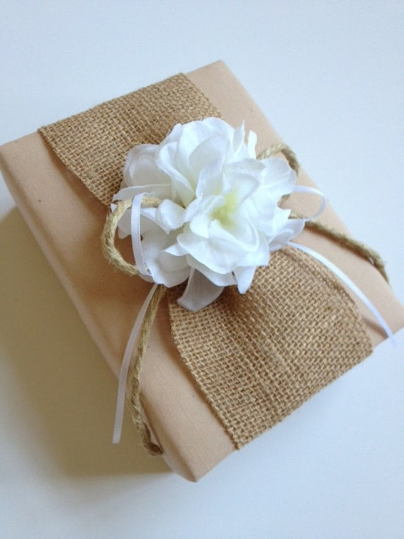 Wedding Photo Album -  Rustic Burlap, White Hydrangeas, Tea Dyed Muslin - Handmade