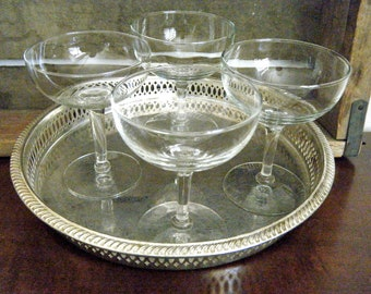 Set of 6, Classic Champagne Coupe Glasses, Classic and Understated with Deep Bowls, Libbey Crystal Embassy Champagne, Tall Sherbet