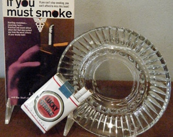 If You Must Smoke, by J.I. Rodale, How to Mitigate the Effects of Smoking, With Clear Glass Ashtray, Mad Men, Fathers Day Gift
