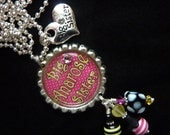 Big Sister/ Little Sister Pinkalicious PERSONALIZED Bottle Cap Pendant Necklace/Zipper Pull With Charm