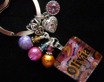 PERSONALIZED Paisley Glass Tile Keychain/Pendant Necklace/Backpack/Zipper Pull W/ Charm