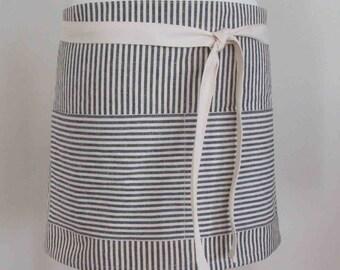 Half Apron Hemp Organic Cotton Indigo Stripes Blue Navy Caterer Utility