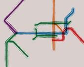 Philadelphia SEPTA Map Gallery Wrap Canvas - 20x16