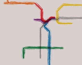 Los Angeles Metro Gallery Wrap Canvas - 12x12