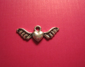 last Set of 20 antique silver heart with wings charms