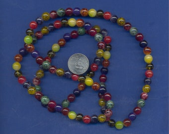 36 Inch strand of Assorted Round Glass 8mm Beads