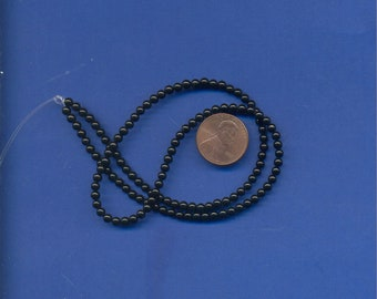 16 Inch Strand of Black Onyx 3mm Beads