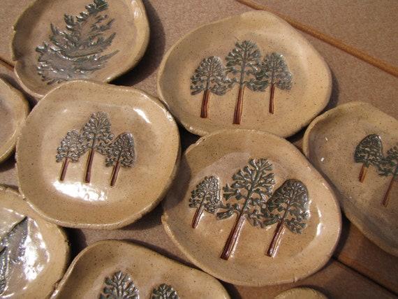 Pine Tree - Pottery Soap Dishes, Trinket Tray