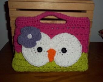 Hand Crocheted Cotton -Cute Little Owl  Purse-Hot Pink and Hot Green
