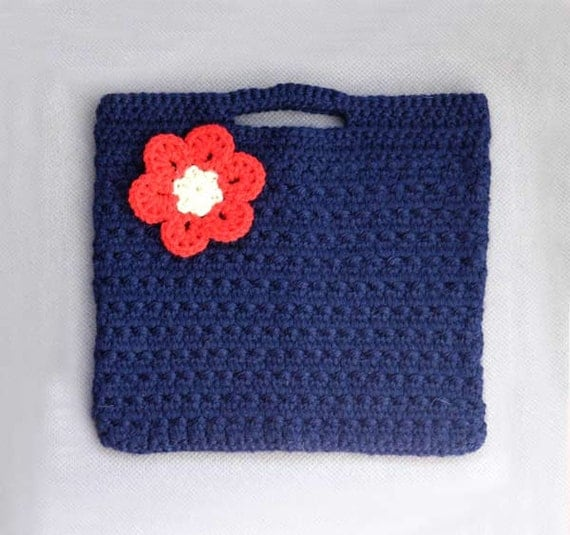 Crochet Fashion Purse & Red Flower Brooch Set, Chic Crochet Fashion Handbag, Back to School Tote