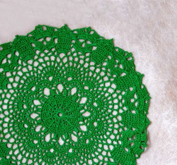 Irish Spring Crochet Lace Table Doily, Fresh Home Decor, Fiber Art, Handmade