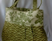 Medium Handmade  Pleated Purse Olive Green Ripples and Dogwoods in Cream