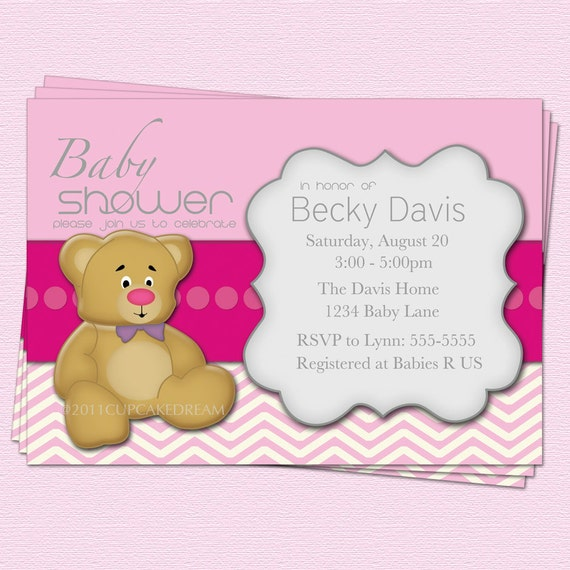 girl baby shower invitations teddy bear modern printable by cupcake