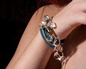 Blue Green Velour Bracelet,Clear Quartz Stones