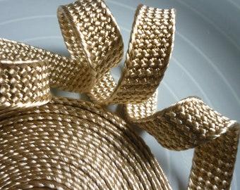 Moroccan golden beige art silk and gold metallic  trim, 4 metres