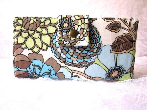 Handmade women wallet Large flowers blue green brown - ID clear pocket Ready to ship