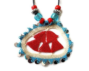 necklace, turkish needle lace, red, white, turquoise