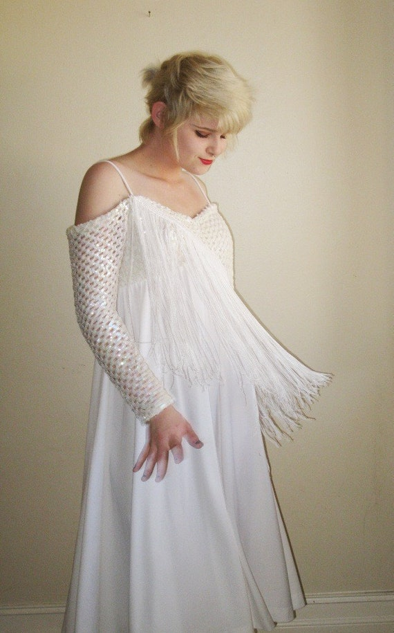 reserved for angelique fringed Wedding Dress