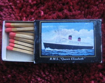 Matches, Match box, QE II, Souvenir, Cruise line, Queen Elizabeth II,