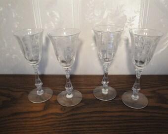 Vintage 1930's Cambridge Cordial Liquor Glasses Set / 4