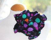 Large Felted wool flower lagenlook brooch pin corsage - spotty dotty black purple jade magent