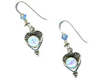 Blue lab opal sterling heart earrings