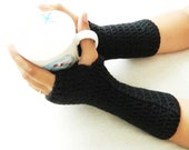 Sale Crochet Wrist Warmer - Fingerless Gloves - Mittens Arm Warmers - Black