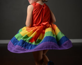 Rainbow Dress 12 month 2t 3 t 4t by Rugrat Design Full twirly rainbow skirt with fully lined bodice
