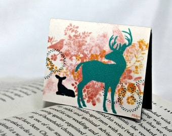 Magnetic Bookmark, Woodland Deer, Stocking Stuffer, Whimsical, Turquoise and Coral red