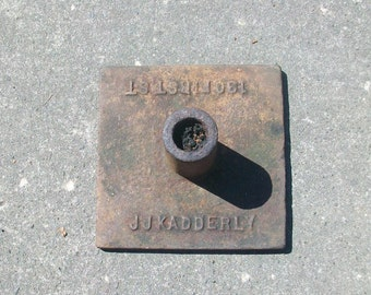 Advertising Cast Iron Antique Flag / Pole Holder for J. J. KADDERLY Hardware in Portland, Or