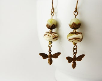 Nature Woodland  Earrings   /  Vintaj Brass  /  Nature Lover  / Humblebeads
