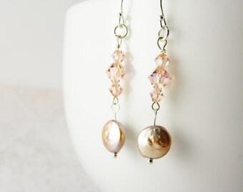 Pink Coin Pearl Earrings / Pink Pearl Earrings /  Swarovski Crystal /  Dangle / Sterling Silver