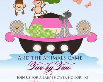 Noah's Ark Baby Shower Invitation for Girls- Butterfly, Monkey, Elephant, Owl, Giraffe, Baby Shower, Birthday, Christening - Digital File