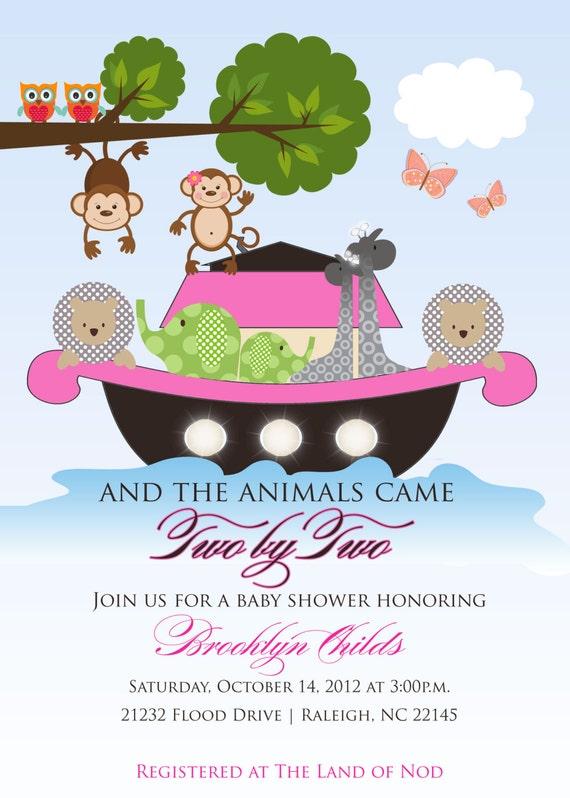 noah 39 s ark baby shower invitation for girls butterfly monkey