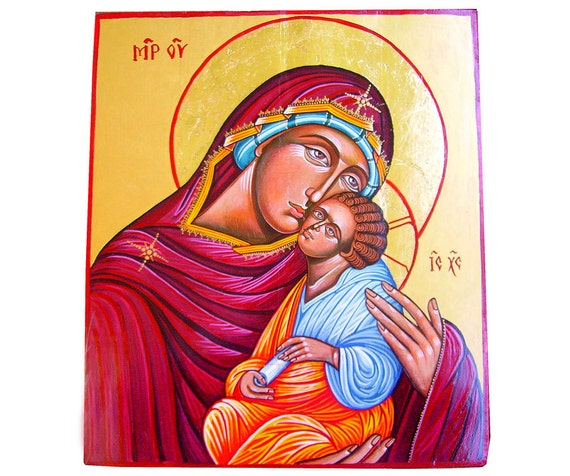The Virgin with Christ Child, Madonna Eleusa -  handpainted orthodox icon, 15 by 13 inches