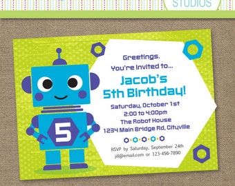 Custom Robot Birthday Purple Blue Green - Printable Personalized Digital Invitation - Personal Use Only