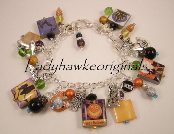 Halloween Jack O Lantern Scrabble Tile Charm Bracelet Holiday Witch Altered Art OOAK OKetsy HMA