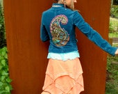 Indie JACKET TEAL corduroy jacket PAISLEY Embroidery womens fitted jacket Pixie Fairy Hippie Boho jacket size S eco friendly clothes