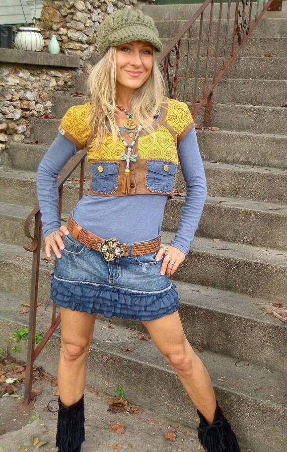 HOODIE SHRUG short VEST mustard yellow Pockets cotton hoodie Hippie Boho Urban Chicks eco friendly