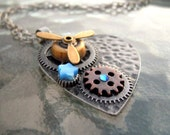 Industrial Chic Pendant with Gears and a Working Propeller