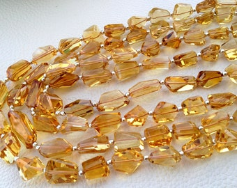 Full 8 Inch Strand, AAA Quality Golden CITRINE Faceted Nuggets Shape Briolettes, 10-14mm Size,Great Quality at Low Price