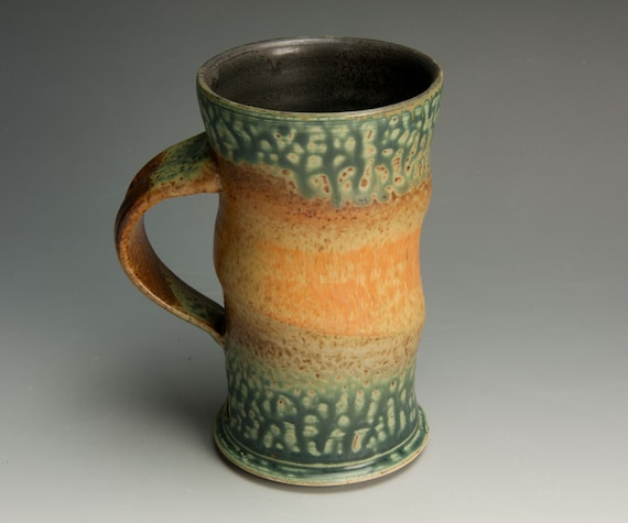 Handcrafted stoneware rust red, ash green coffee mug or teacup 613