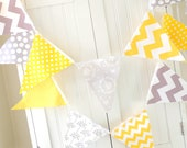 Banner, Bunting, 11 Fabric Pennant Flags, 5 Feet, Yellow, Grey Polka Dot, Chevron, Baby Nursery Decor, Wedding Garland, Birthday Party