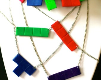Tetris inspired necklace