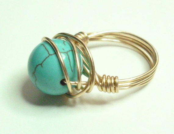Turquoise Merlins Gold Handmade Wire Wrapped Ring Sizes 1-14