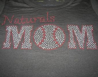 Baseball MOM Bling Shirt, Baseball Mom Shirt, Baseball Mom Tank, Baseball Mom, Softball Mom Shirt, Softball Mom Tank, Bling Baseball Shirt